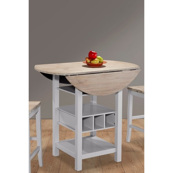 Ridgewood Natural Wood Drop Leaf And Wine Rack Counter Table Free Shipping Today 16180835