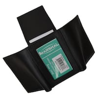 Swiss Marshal Black Leather Trifold Flap-up ID and Outside ID Window Wallet
