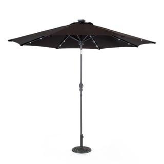 Black Metal/Fabric 8.5-foot Market Umbrella with Solar-Powered Speaker
