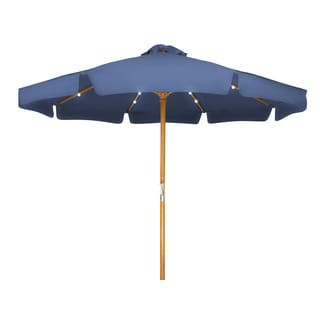 Trademark Innovations Wooden 9-foot Solar-powered LED Patio Umbrella