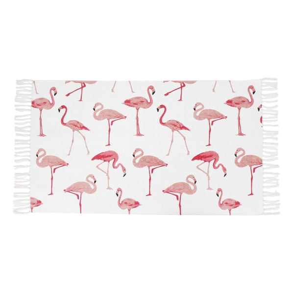 "Francine Flamingo Printed Fringe Cotton Rug (27"" x 45"")"