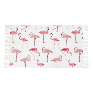 "Francine Flamingo Printed Fringe Cotton Rug (27"" x 45"") - 2'3 x 3'9"
