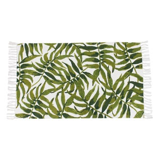 "Leon Leaf Printed Fringe Cotton Rug (27"" x 45"") - 2'3 x 3'9"
