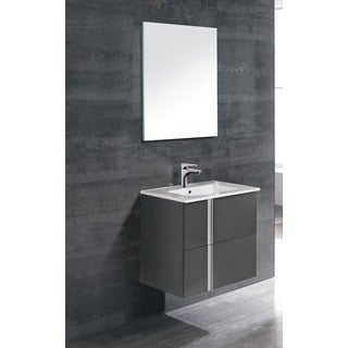 Dawn ONIX-2407 Black Wood and Ceramic Vanity Set