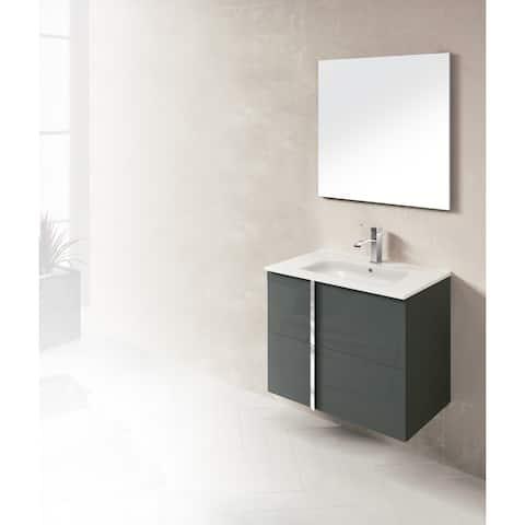 Dawn Onix Black Wood and White Ceramic Single-basin Bathroom Vanity Set