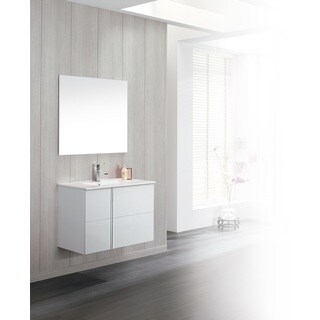 Dawn Onix White Ceramic and Wood Bathroom Vanity Set