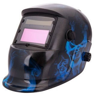 96 x 48mm Flame Style Auto Color Changing Solar Power Single-panel Helmet Shield for Welding Blue & Black