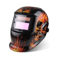 96 x 48mm Iron Chain & Skull Style Auto Color Changing Solar Power Single-panel Helmet Shield for Welding Black & Orange