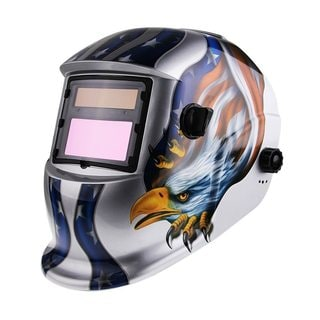 Eagle Pattern Solar Powered Auto Darkening Welding Helmet Silver & Blue & Yellow