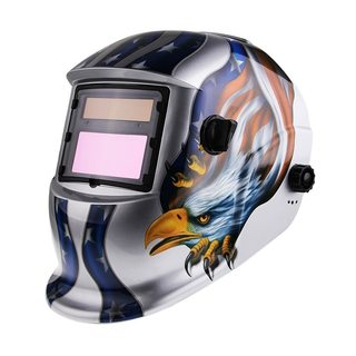 Eagle Pattern Solar Powered Auto Darkening Welding Helmet Silver & Blue & Yellow