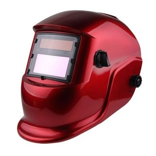 Solar Powered Auto Darkening Welding Helmet Transparent Red