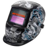 Solar Powered Auto Darkening Welding Helmet Skull Pattern Black & White