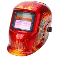 HDKLT-107 Skull Pattern Solar Powered Auto Darkening Welding Helmet Red