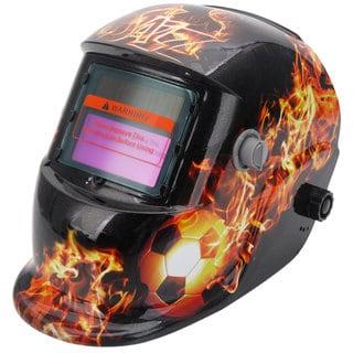 Solar Powered Auto Darkening Welding Helmet Football & Fire Pattern Black & Yellow