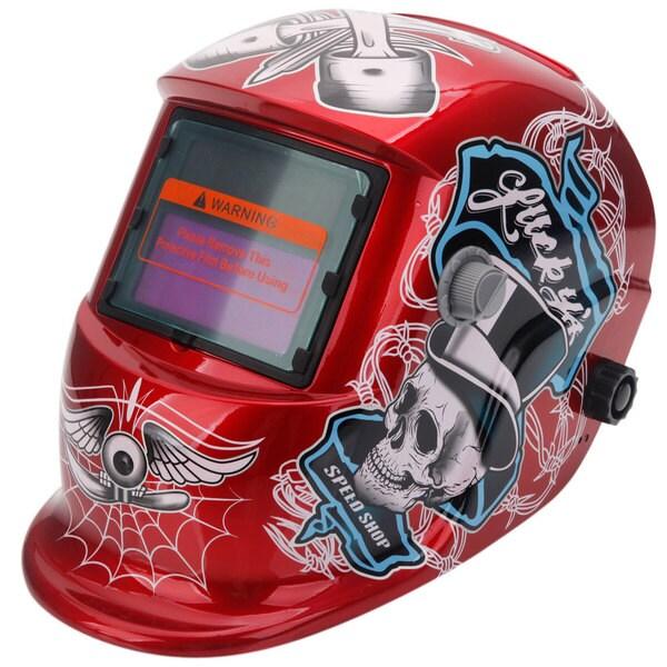Solar Powered Auto Darkening Welding Helmet Skull Pattern Red & Black & White