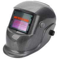Solar Powered Auto Darkening Welding Helmet Squares Pattern Black & Grey