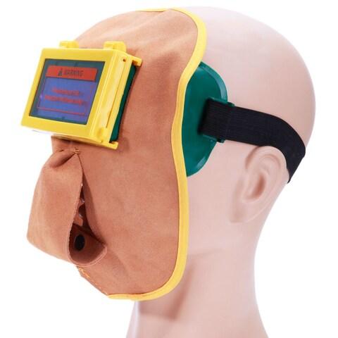 Leather Mask Solar Auto Darkening Filter Lens Welding Hood Helmet Mask Coffee