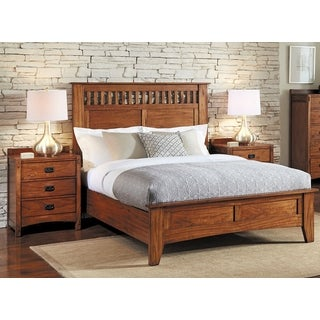 Simply Solid Milla Solid Wood Panel Bed With Oak Finish