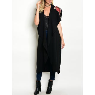 JED Women's Drapey Floral Embroidered Maxi Cardigan Vest