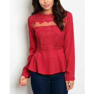JED Women's Red Mesh and Lace Long-sleeve Peplum Top