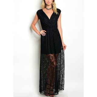JED Women's V-neck Black Lace Maxi Dress