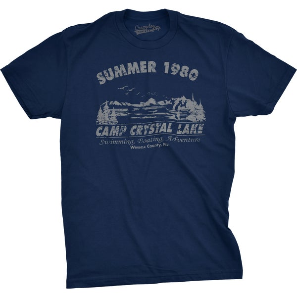 Mens Summer 1980 Funny Vintage Halloween Horror T shirt - Navy