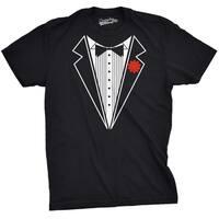 Mens Black Tuxedo T Shirt Funny Lazy Wedding Fake Suit Fancy Marriage Tee