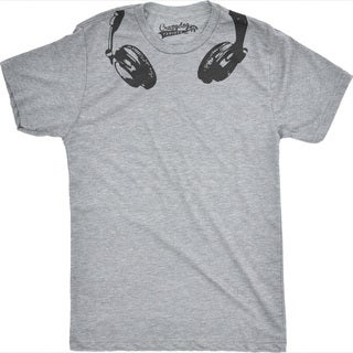 Headphones Around The Neck T Shirt Funny Head Phones Cool Tee