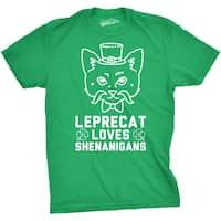 Mens Leprecat Loves Shenanigans Funny Irish Cat Lover St. Patrick's T shirt