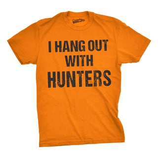 Mens I Hang Out With Hunters Funny Outdoors Hunting Deer Country T shirt