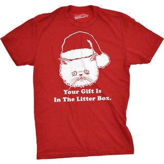 Mens Gift Is In The Litter Box Funny Crazy Cat Christmas Holiday T shirt