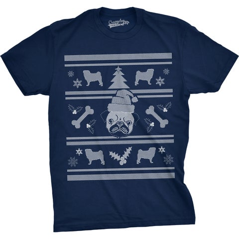 Mens Pugly Christmas Sweater Funny Dog Holiday Party T shirt