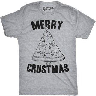 Mens Merry Crustmas Funny Pizza Christmas Tree Holiday T shirt