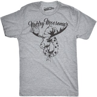 Mens Merry Moosemas Funny Outdoors Moose Christmas Holiday T shirt