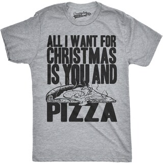 Mens All I Want For Christmas Is You and Pizza Funny Holiday T shirt