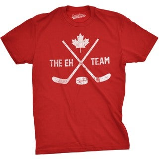 Mens The Eh Team Canadian Hockey Sticks and Puck Sporting T shirt