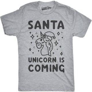 Mens Santa Unicorn Is Coming Funny Santa Hat Christmas T shirt (More options available)