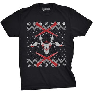 Mens Deer Hunt Ugly Christmas Sweater Funny Hunting Holiday T shirt