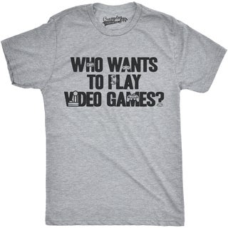 Mens Who Wants To Play Video Games Funny Nerdy Gaming Console T shirt (Grey)