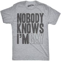 Mens Nobody Knows Im Gay Funny Gay Pride LGBT Community T shirt (Grey)