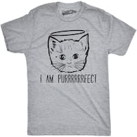 Mens I Am Purrrrfect Funny Adorble Halo Angel Kitten Crazy Cat Person T shirt (Grey)