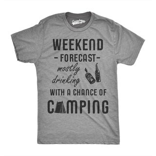 Mens Weekend Forecast Drinking Chance of Camping Funny Summer T shirt (Grey)