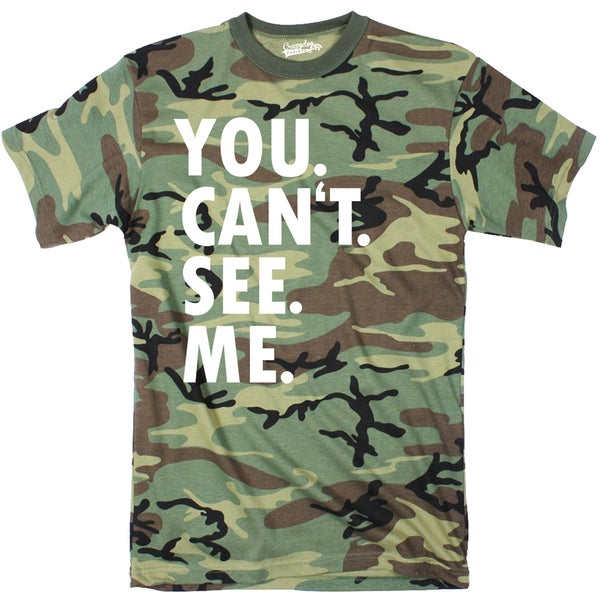 Mens You Cant See Me Funny Hiding Hunting Camouflage T shirt (Camo)