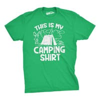 Mens This Is My Camping Shirt Funny Summer Tent Hiking T shirt (Green)