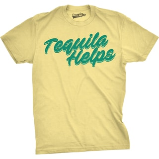Mens Tequila Helps Funny Mexico Drinking Taco Tuesday T shirt (Yellow)