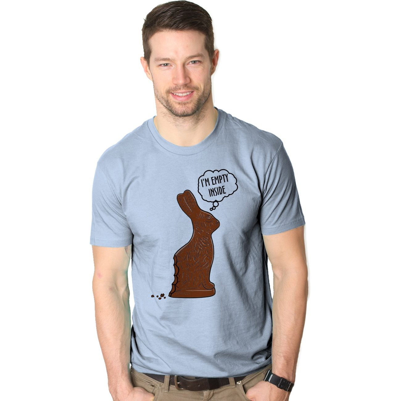 Mens Empty Inside Funny Bitten Chocolate Easter Bunny T s...
