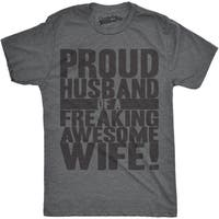 Mens Proud Husband of a Freaking Awesome Wife Funny Marriage T shirt