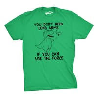 Mens T Rex Don't Need Long Arms If You Can Use Force T shirt (Green)