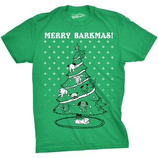 Mens Merry Barkmas Funny Dog Lover Christmas Tree Holiday T shirt (More options available)