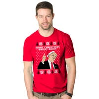 Mens Make Christmas Great Again Republican Candidate Funny Ugly Xmas T shirt (Red)